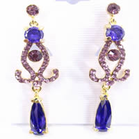 Charm Purple Earrings with Zircon